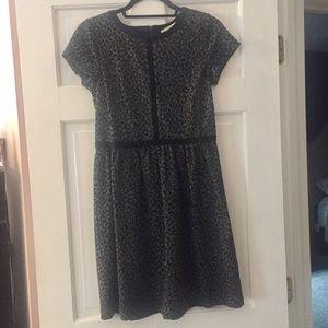 LOFT Grey and Black Leopard-Print Dress